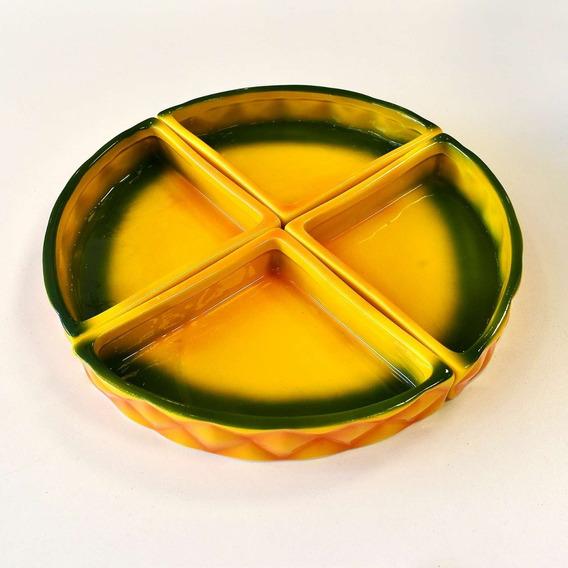 Petisqueira 04 Partes Cerâmica Abacaxi Pineapple Verão 57324