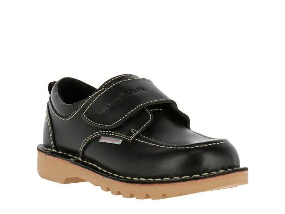 Zapato Cuero Spring Velcro Ii Negro