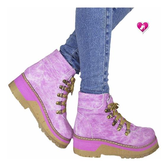 Botita Borcego Mujer Acordonado Modelo Pink De Shoes Bayres