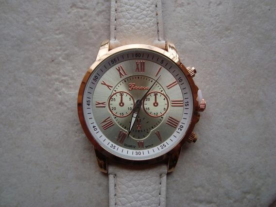 Relógio Femino De Quartzo De Couro Sintético - Branco -