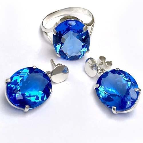 Lindo Conjunto Quartzo Azul Anel E Brincos Prata 950k Vj