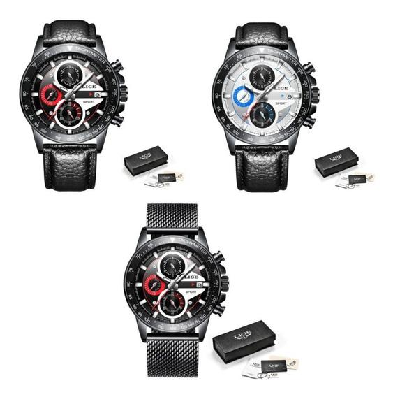 Relógio Masculino Lige Casual Moderno Luxo Original + Caixa
