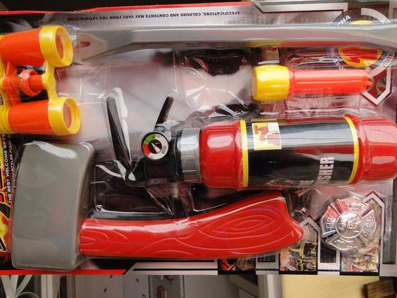 Kit Capacete Extintor Espirra Agua Fantasia Bombeiro Infant