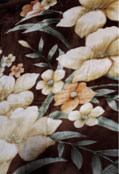 Frazada Campomayo Símil Piel Flores Polyester 2 1/2 Plaza Fc