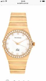 Relógio Feminino Ana Hickmann Dourado Com Zircônia