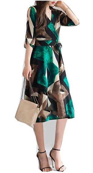 Pura Ganga: Vestido Oriental Para Dama Casual Café/verde