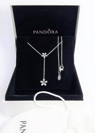 Colar Feminino Prata 925 Margaridas Radiantes Estilo Pandora