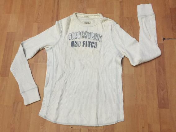 Playera Termica Abercrombie Fitch Blanca Original Xl Eg Slim