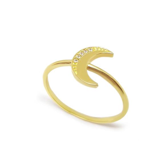 Anel Ouro 18k 750 Lua Com Diamantes Frete Grátis