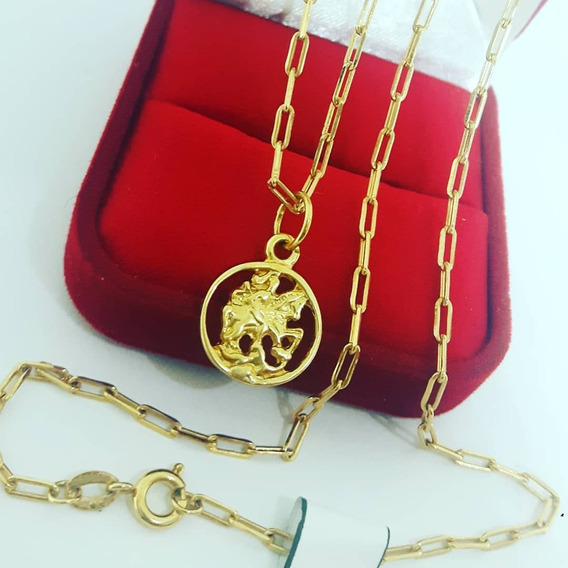 Cordão Corrente Cartier Banhado A Ouro + Pingente São Jorge