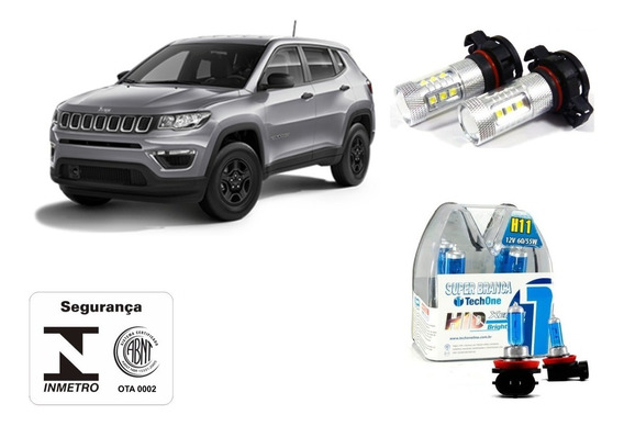 Kit Milha/neblina + Drl Super Branca Jeep Compass