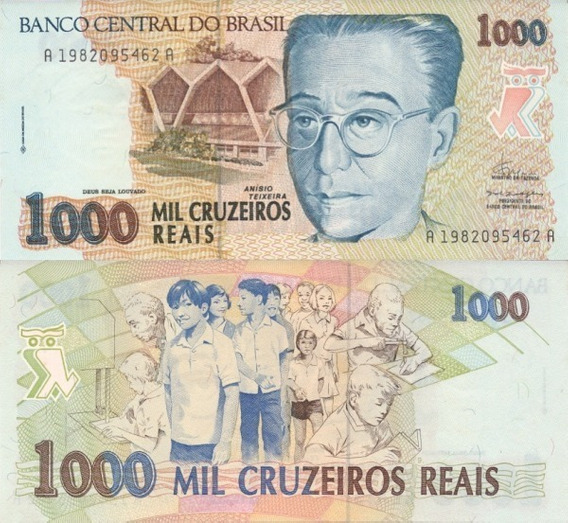 Cedula C 238 1000 Cruzeiros Reais 1993 - Fe