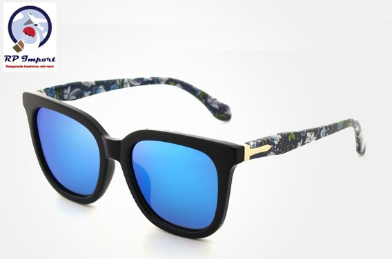 Óculos De Sol Kingseven Floral Azul Polarizado