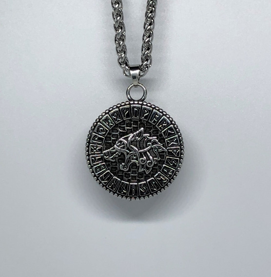 Collar Runa Lobo Vikingo Acero Inoxidable Nórdico Odin