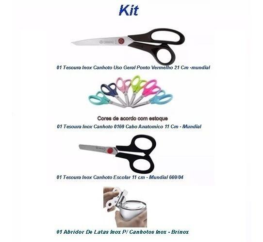 Kit 01 Tesouras Canhoto 2 Tesouras Escolar + Abridor Canhoto