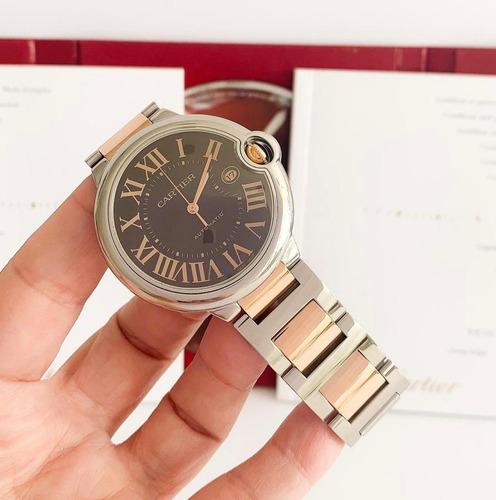 Cartier Ballon Bleu Xl Ouro Rosé & Aço Chocolate Dial