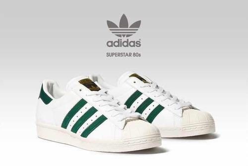 adidas superstar blancos con verde