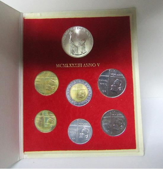 Vaticano Monedas Set De 7 Liras Año 1983 Papa Juan P. Ii Unc