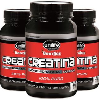 Kit 3 Creatina 500mg - 180 Cápsulas - Unilife Vitamins