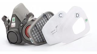 Respirador Máscara 3m 6200+filtro 6005 Formaldeído Completa