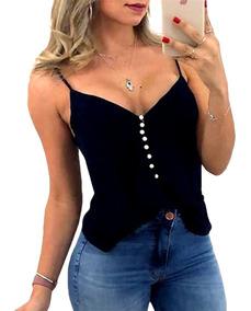 Kit 3 Regatas Blusa T Shirt Botoes Perolas Alça Femininas