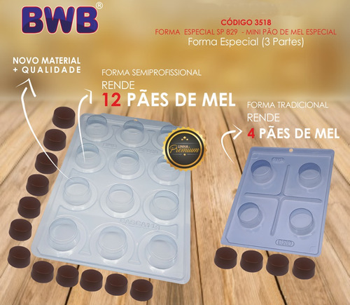 2 Forma Mini Pão De Mel Premium Bwb Sp829