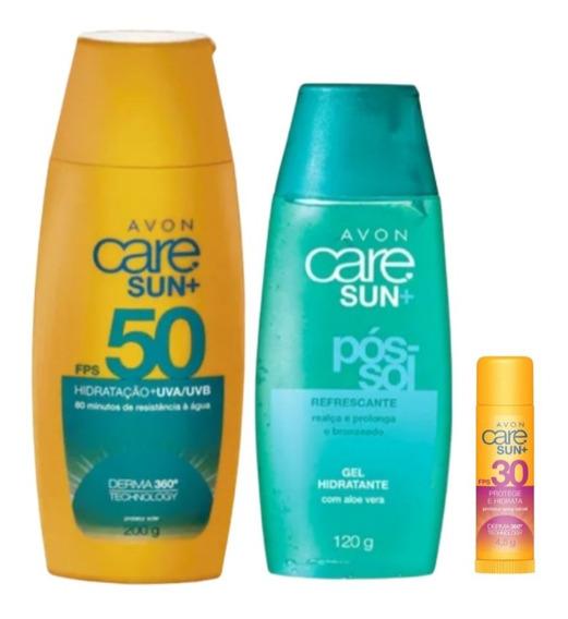 Kit Protetor Solar 50 Corpo-rosto/ Pós Sol E Labial+brinde