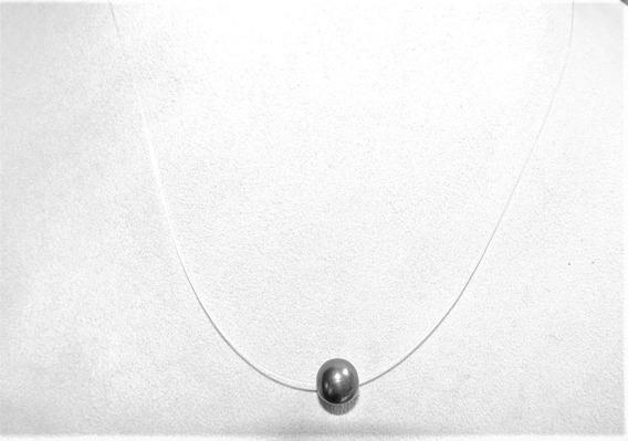 Collar Fino De Perla Cultivada Negra 10 Mm