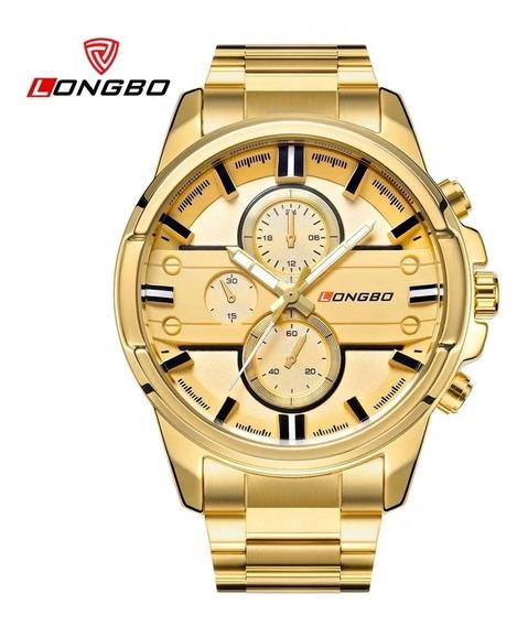Relógio Masculino Longbo 80240 Golden Gold Com Frete Grátis