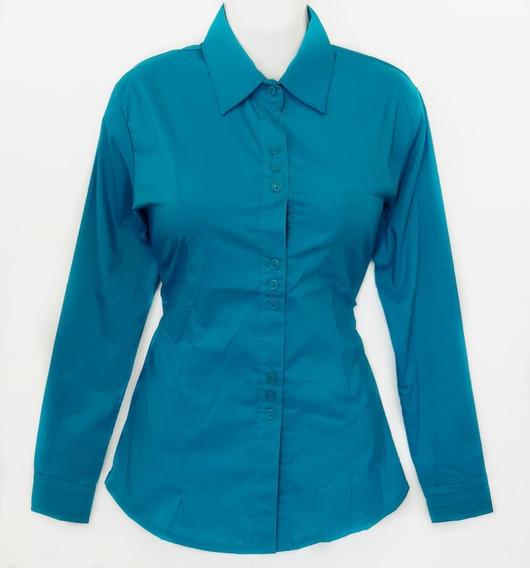 Camisa De Dama Color Turquesa