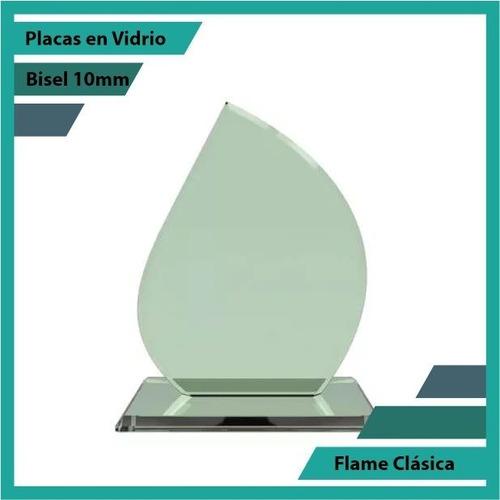 Placas Conmemorativas En Vidrio Forma Flame Clasica Plano