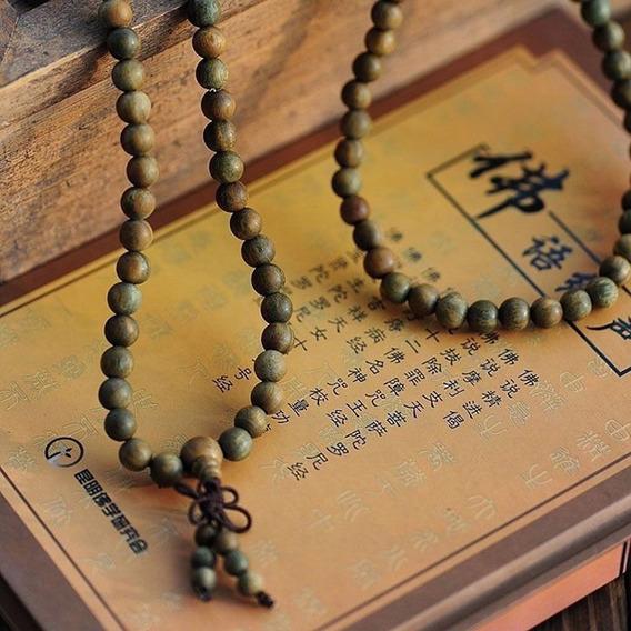 Pulseira Colar Terço Budista Verde Ou Marrom 6mm Japamala