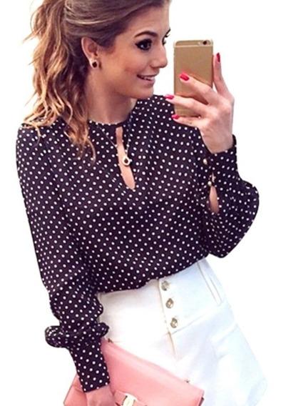 Camisa Blusa Bolinha Feminina Estilosa Maravilhosa Poá