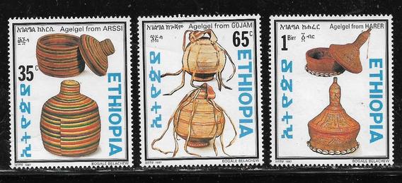 Etiopía Serie De 3 Estamp Mint #1454/56 Artesanías Año 1997