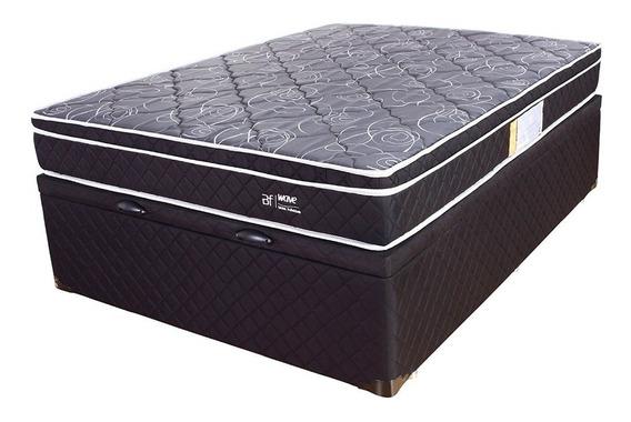 Cama Box Colchão Casal Molas Ensacada Pillow + Box Baú Preto