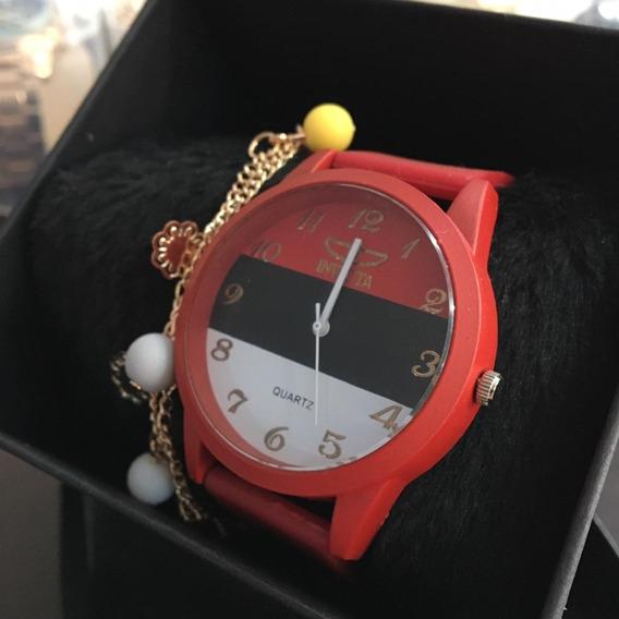 Relógio Feminino Mais Pulseira E Caixinha Oferta