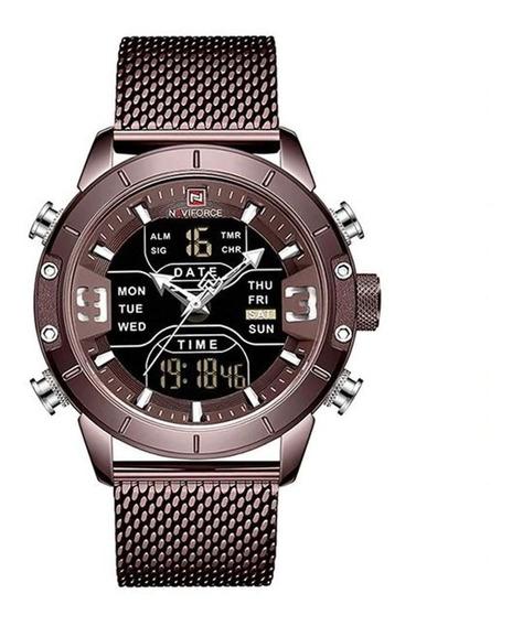 Relógio Masculino Bronze Envelhecido Luxuoso Anadigi C/nfe