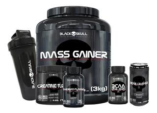 Mass Gainer+bcaa 30caps+termogênico +creatina Black Skull