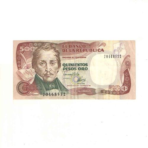 Imagen 1 de 2 de Billete De 500 Pesos Oro De Colombia Con Envio Gratuito