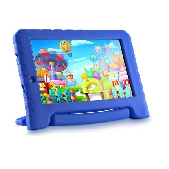 Tablet Para Criança Infantil Multilaser Kids Capa Azul + Nf