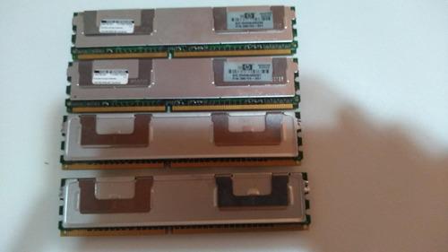 Imagem 1 de 6 de Memoria 4gb 4x1gb Pc2-5300f Fb-dimm Hp Proliant Ml350 G5