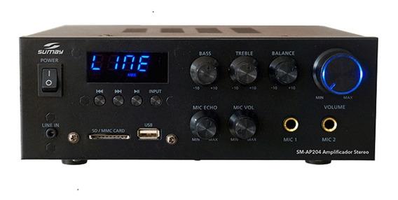 Amplificador Receiver Som Stereo 300w Sumay Usb Fm Bluetooth