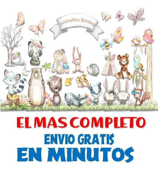 Pack Imágenes Clipart Animales Animalitos Bosque Acuarela