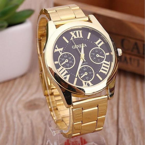 Relógio Feminino Estilo Luxo Dourado Números Romanos Quartz
