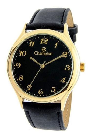 Relógio Champion Masculino Social Couro Preto Cn20024p