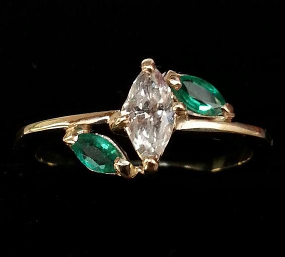 Anel Ouro 18 K Diamante 30 Pontos E Esmeralda