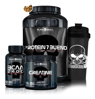 Kit Whey Protein 7 + Bcaa + Creatina - Black Skull + Brinde!