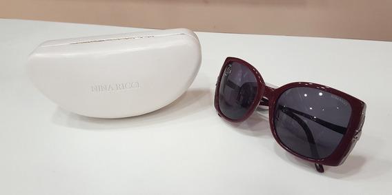 Óculos De Sol Nina Ricci 3236 Acetato Vermelho Laço Feminino