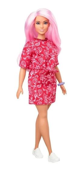 Barbie Fashionistas 151 Negra Cabelo Rosa Curvy