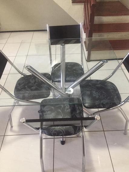 Mesa De Cozinha Em Vidro Com 4 Cadeiras